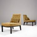 Edward wormley  dunbar pair of slipper chairs with tufted fabric upholstery on darkstained bases brass dunbar tag to both 31 x 23 x 27