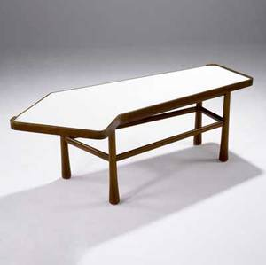Edward wormley  dunbar coffee table with angled white laminate top on bleached mahogany base 19 12 x 53 12 x 24 12