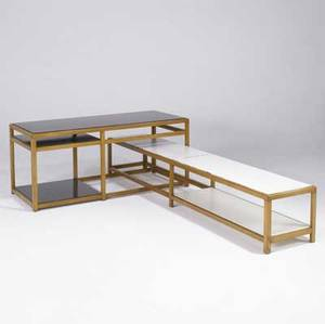 Edward wormley  dunbar interlocking tables in white oak with black and white laminate surfaces both marked with rectangular brass dunbar tags 24 x 53 x 23 and 15 14 x 85 12 x 15 12