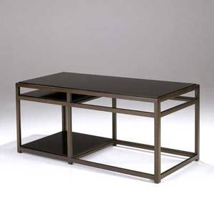 Edward wormley  dunbar sofa table with black laminate surfaces on oak frame brass dunbar tag 24 x 53 12 x 23