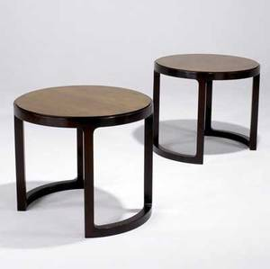 Edward wormley  dunbar pair of sofa tables in light and dark mahogany both marked with brass d tags 23 14 x 26 34 dia