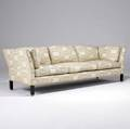 Edward wormley  dunbar threeseat sofa with ivory and beige patterned fabric upholstery on darkstained legs with brass feet upholstery marked dunbar 27 12 x 81 x 28 12
