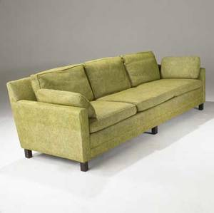 Edward wormley  dunbar sofa with original green wool upholstery on dark walnut legs fabric label 30 x 92 x 34