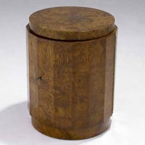 Edward wormley  dunbar singledoor burlwood bar cabinet with faceted body dunbar factory tag 20 12 x 16 14