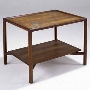 Edward wormley  dunbar natzler twotier walnut table its top inset with three natzler tiles in jadecolored glazes rectangular brass dunbar tag also marked with dunbar factory tag 23 14 x 29