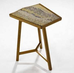 Dunbar trapezoidal side table in bleached mahogany with inset glass mosaic top rectangular brass dunbar tag 22 34 x 14 x 16 14