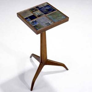 Edward wormley  dunbar  tiffany walnut pedestal side table inset with tiffany favrile tiles on tripod base brass dunbar tag 23 x 13 sq