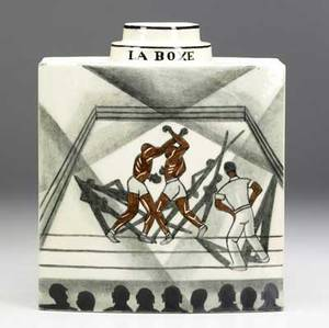 Robert lallemant art deco ceramic vase la boxe depicting two boxers in a ring stamped t r lallemant france 8 12 x 7 12