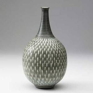 Harrison mcintosh bottleshaped stoneware vase with chevron pattern in speckled ivory olive and light blue matte glaze harrison mcintosh paper label and impressed artists cipher 10 x 5 14