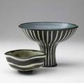 Harrison mcintosh two stoneware pieces footed compote and foursided bowl both covered in ivory and dark brown striped matte glaze with speckled interiors harrison mcintosh paper labels and impre