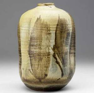 Toshiko takaezu stoneware vessel with dimpled body incised tt 11 x 7 14 dia
