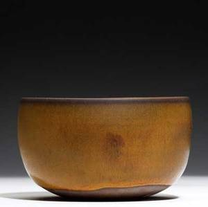 Laura andreson hemispheric earthenware bowl covered in semimatte glaze 1955 signed laura andreson 1955 3 14 x 5 14 dia