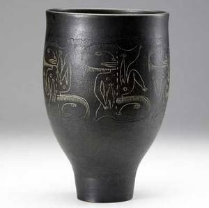 Scheier glazed black ceramic vase with sgraffito decoration incised scheier 11 12 x 7 12 dia