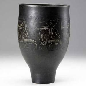 Scheier glazed black ceramic vase with sgraffito decoration incised scheier 11 12 x 7 12 dia