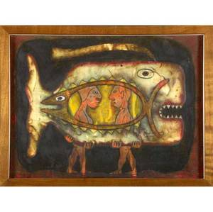 Edwin scheier untitled mixed media on vellum 1985 framed signed sheier 85 17 x 22 34 sight