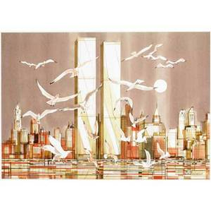 Viktor schreckengost watercolor depicting lower manhattan and the world trade center with gulls in flight matted and framed under glass signed lower right sight 20 34 x 29 14 overall measur
