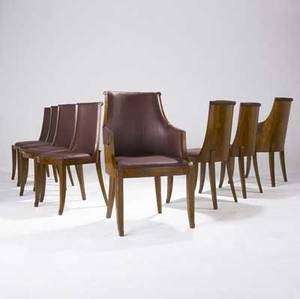 Art deco set of eight rosewood dining chairs two arm and six side with plumcolored silk upholstery armchairs 39 x 23 x 22 side chairs 36 12 x 18 34 x 20 12