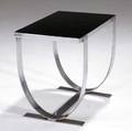 Donald deskey side table with black glass top on banded and chromed steel base 20 14 x 22 14 x 15 34