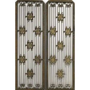 Singer building new york pair of wroughtiron grilles with gilded floral medallions 54 12 x 17 12
