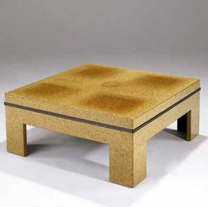 Paul frankl  johnson furniture co laminated cork coffee table with mahogany trim marked with stenciled numbers 16 x 36 sq