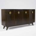 Gilbert rohde  herman miller paldao fourdoor cabinet with large etched brass pulls single shelf and interior shallow drawers stenciled 4104 on back 33 x 66 x 16