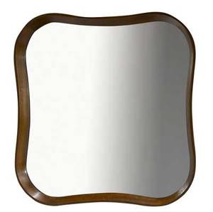 Gilbert rohde  herman miller wallhanging mirror with biomorphic mahogany frame 32 sq