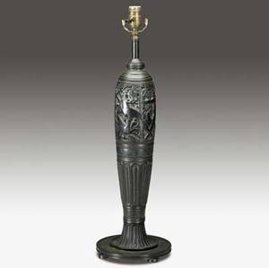 Oscar bach bronze table lamp base decorated with a hunting scene under verdigris patina signed oscar bach 26 x 8