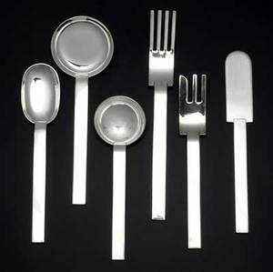 Russel wright fortyfour piece flatware set service for five consisting of eight forks eight knives eight salad forks eight soup spoons and eight teaspoons along with two small serving spoons a