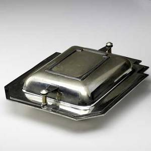Louis w rice  bernard rices sons silverplated skyscraper serving dish ca 1928 stamped skyscraper des pat pending apollo epns made by bernard rices sons inc 5251 3 12 x 11 34 x 9 12
