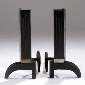 Art deco pair of castiron andirons with nickeled brass accents 18 14 x 10 x 19 12