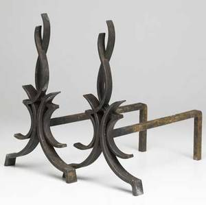 Raymond subes pair of castiron andirons with flameshaped uprights 16 x 9 14 x 16