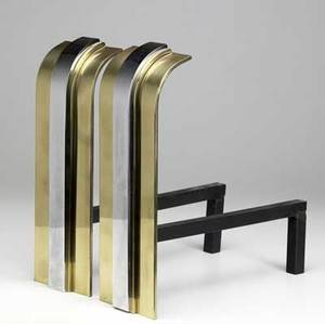 Karl springer pair of andirons with polished brass and chrome uprights unmarked 15 34 x 5 14 x 15 34