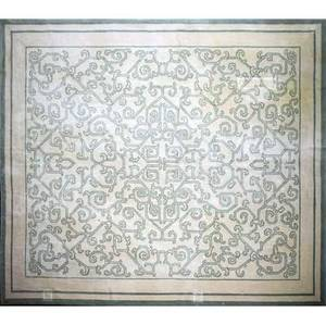 Stark carpet company new york roomsize rug with green fretwork pattern on cream ground fabric label 12 2 x 14 6