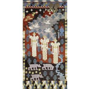 Gerhard munthe norway woven wool tapestry depicting three central figures in a stylized landscape with fringed ends 106 x 53