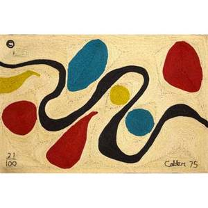 Alexander calder  bonart maguey fiber tapestry turquoise 1975 woven calder 75 numbered 21 of 100 with copyright and fabric label 56 12 x 84 12
