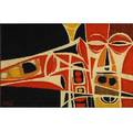 Bill hinz tapestry with stylized depiction of a jazz musician in orange yellow black and white woven signature 37 x 61