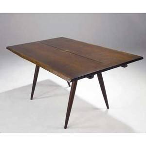 George nakashima walnut turnedleg dining table with two free edges three butterfly keys to top and two leaves provenance available table 29 x 60 12 x 37 34 leaves 17 x 36 12