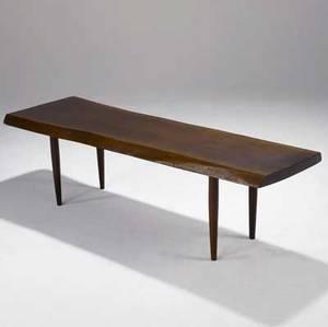 George nakashima walnut coffee tablebench with freeform edges on turned wood legs provenance available 17 14 x 60 x 18