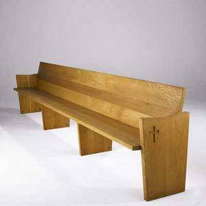 George nakashima set of three custom designed church pews in white oak each with carved crucifix to one side these were created for st martin of tours church in new hope pa 32 34 x 148 14 x