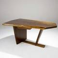 George nakashima fine walnut desk with tapering freeedge top over single drawer 1976 accompanied by copy of original receipt from nakashima studio marked with clients name 28 34 x 66 12 x