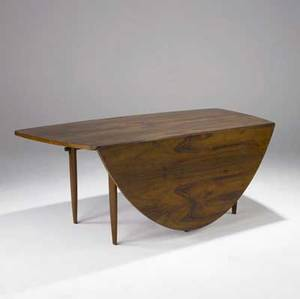 George nakashima  widdicomb dropleaf dining table in sundra finish with bookmatched top and keyed throughtenon stretcher widdicomb decal closed 28 12 x 73 14 x 36 14 leaf 26