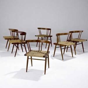 George nakashima set of six walnut grassseat chairs 1987 provenance available most marked george nakashima june 1987 28 x 23 x 18