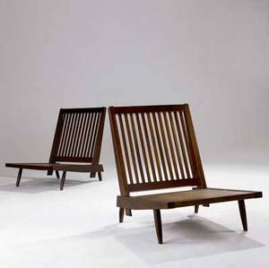George nakashima early pair of walnut slatback lounge chairs provenance available 30 x 23 12 x 31