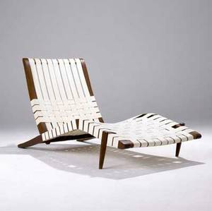 George nakashima walnut long chair with adjustable back and ivorycolored cotton webbing provenance available as shown 31 x 26 x 60