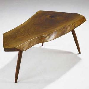 George nakashima walnut coffee table its freeedge top with one natural occlusion on turned wood legs marked with clients name 17 34 x 42 x 23
