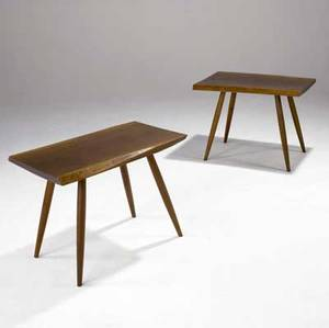 George nakashima pair of walnut side tables each with freeedge top and turned wood legs one faintly marked with clients name 21 x 28 x 17 14