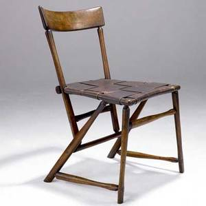 Wharton esherick hammerhandle chair with burgundy leather webbed seat provenance hedgerow house hedgerow theatre school rose valley pa 30 14 x 16 14 x 16 12