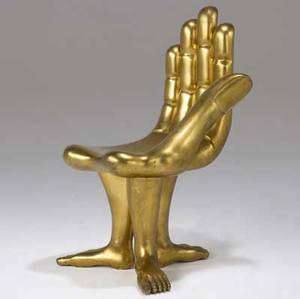 Pedro friedeberg hand chair with threefooted base and gilded finish branded pedro friedeberg 35 x 20 x 21