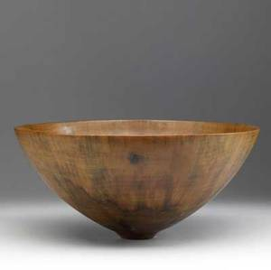 Ron kent large flaring turned wood bowl provenance collection of kenzo takada faint script signature 7 12 x 16 14