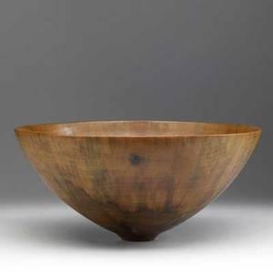 Ron kent large flaring turned wood bowl provenance collection of kenzo takada faint script signature 7 12 x 16 14